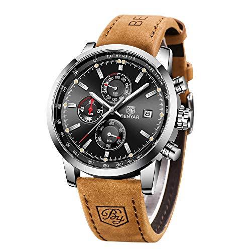 BENYAR moda uomo al quarzo cronografo impermeabile orologi business casual sport design Leather Band cinturino da polso orologio