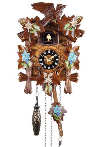 Eble Orologio a cucù in vero legno, movimento al quarzo alimentato a batteria,dipinto, 22cm