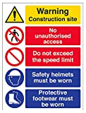 VSafety Multi Hazard Site Safety Speed Limit Warning Sign - 300mm x 400mm - Self Adhesive Vinyl