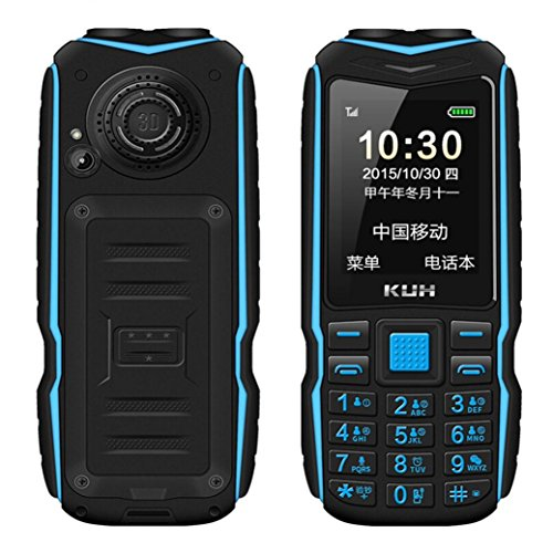Unlocked GSM Cell Phone for Elderly Preople | 15800mAh English Keyboard Dual Sim 2.8 inch Screen Resolution 240 x 320 Outdoor Dual Flashlight Mobile Phone (Blue)