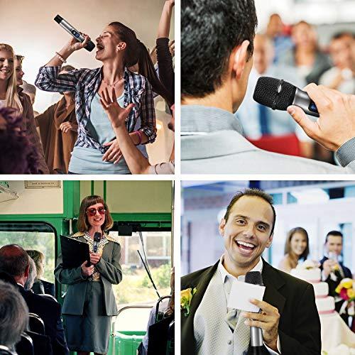 """TONOR Microphone sans Fil 25 Canaux UHF, avec Mini Récepteur Portable Sortie 1/4"""", pour Réunion d'Affaire/Maison/Karaoké/Église, Argent 11"""