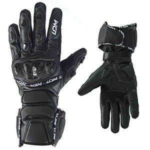LDM Street-R schwarze, verstärkte Motorrad-, Rennmotorradhandschue aus Leder 3