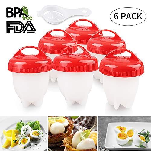 Lovne Egg Boiler Série 6 Cuiseurs à Oeufs Egg Cooker Maker Multifonctionnel Set Moules avec Séparateur d'Oeufs, Silicone Antiadhésive FDA