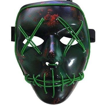 LED Halloween Masques,Allumer Masques,Pour Noël Halloween Cosplay Grimace Festival Party Show, Alimenté par batterie (non inclus)