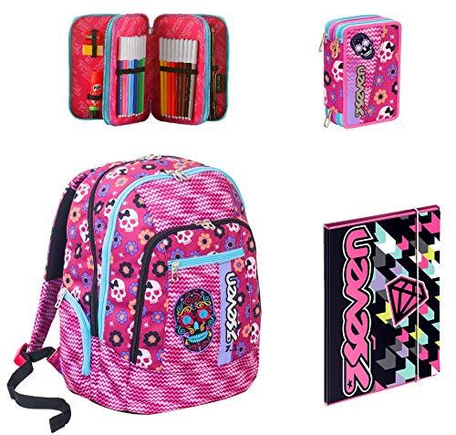 Zaino Scuola Advanced Seven - Mexi Girl - Rosa + Astuccio + Cartellina A4