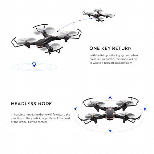 Goolsky VISUO XS809S Drone 2.0MP Grand Angle Caméra Wifi FPV Pliable Drone Une Clé Retour Altitude Maintenir G-capteur Quadcopter avec Une B... 7