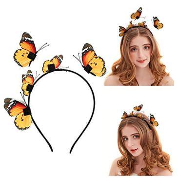 Outgeek BBandeau Décoratif, Femmes Fille Papillon Couronne Accessoires De Cheveux Hairband Coiffe Bandeau Bande De Cheveux Chapeaux pour la Fête De Mariage