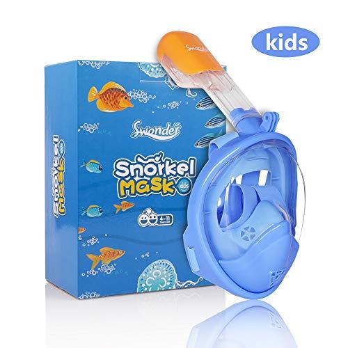 Swonder Vollgesichts-schnorchelmaske, Tauchmaske, mit schöne Box für Kinder, 180° Blickfeld Vollgesichtsmaske mit Action-Kamera-Halterung und Warnung Top, Anti-Fog und Anti-Leck