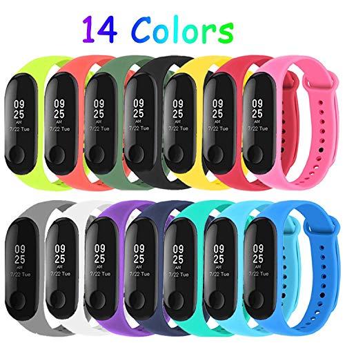 Mardozon 14 Colori Cinturino Xiaomi Mi Band 3 / Mi Band 4 Orologio da Polso di Ricambio per Smartwatch Mi Band 4 Bracciale Cinturini Colorati