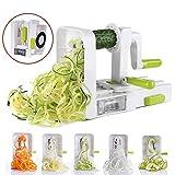 CRZJ Spiralizer-Gemüseschneider, Gemüseschneider mit höchster und höchster Leistung, Küchenmaschine, Spaghetti-Maschine, mit Klingenbehälter