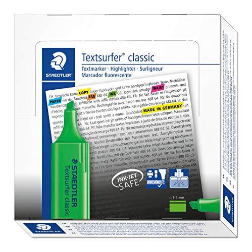 Staedtler 364-5 Textsurfer classic Textmarker, Keilspitze, circa 1-5 mm, 10 Stück im Kartonetui, grün