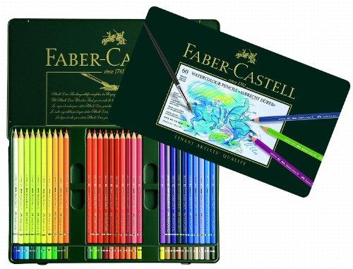 Faber-Castell 117560 - Estuche de metal con 60 lápices de colores acuarelables, multicolor