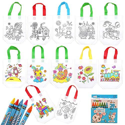 Gudotra Kit 12 Sacche da Colorare Bambini+24 Pastelli Zaini da Colorare Gadget Pensierino Regalino...