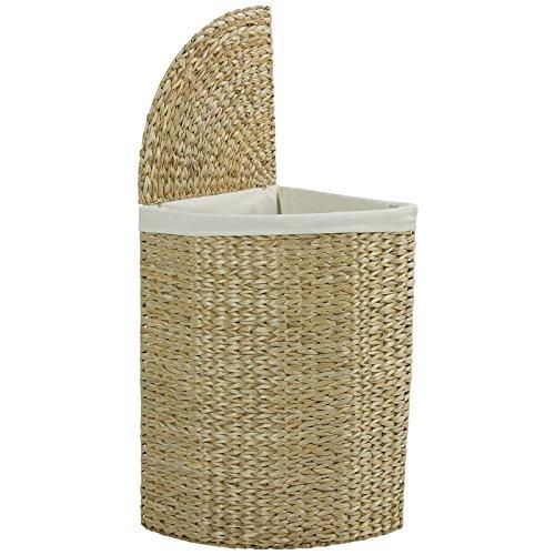 Hartleys - Wäschekorb für Ecken - mit klappbarem Deckel - Naturfarben