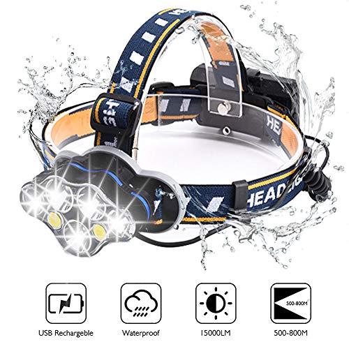 Lampade da Testa, BETECK Torcia Frontale USB Ricaricabile 15000LM 8 Modi 7 LED Regolabile IPX4 Impermeabile Lampada Frontale per Escursioni, Campeggio, Ciclismo, Corsa, Speleologia, Pesca