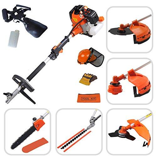 Todeco - Multifunction Garden Tool, Petrol Multi Tool - Engine displacement: 52 cm³ - Function: Pruner trimmer - Orange, 5 in 1