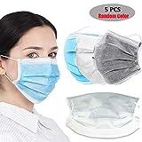 Máscaras Faciales Desechables 3 Capas Máscaras Transpirables Antipolvo, Mascarillas Protectoras, Unisex Para Adultos, Color Aleatorio 5 Piezas