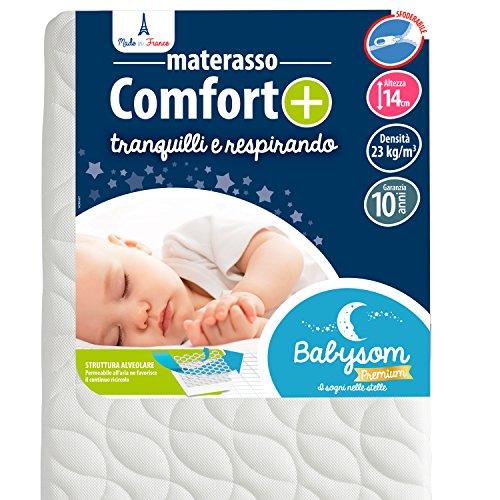 Babysom - Materasso Lettino Bambino Comfort+ | Per Neonato - 60 x 120 cm - Altezza 14cm -...