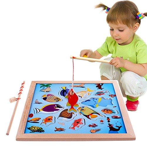 Lewo Magnetica puzzle Gioco in legno La Pesca con 11 pesci e 2 Polo Magnetico