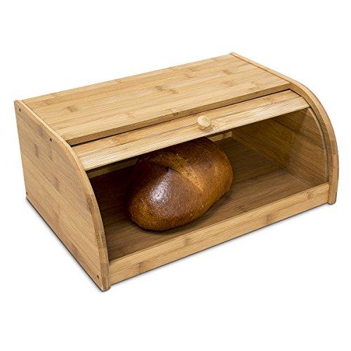 Relaxdays Bambus-Brotkorb, mit Rolldeckel, 40 x 27,5 x 16,5 cm, Frische Brotaufbewahrung, Natur Braun, Holz, Medium Wood Tone, 27.5 x 40 x 16.5 cm