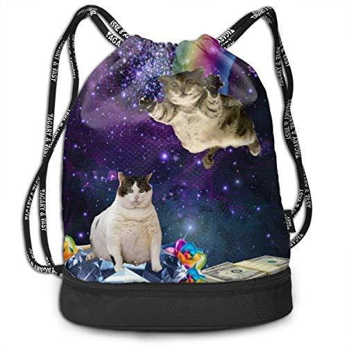 ewtretr Sacche Coulisse Zaino,Borse Sportive, Drawstring Bag Space Cat Shoulder Bags Travel Sport...