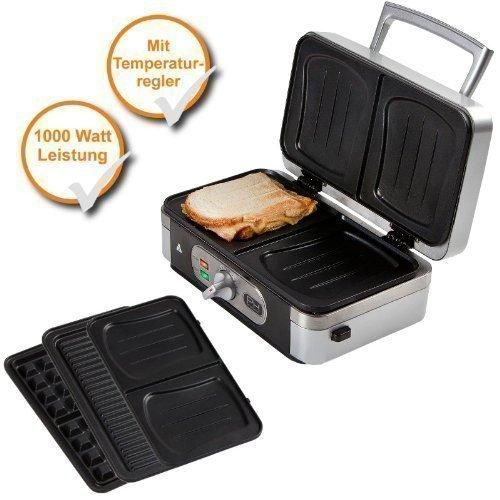 3 in 1 Professionale Tostiera Waffel + Sandwich-Maker + Panini grill con Dischi Rimovibili, Potenza...