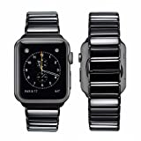 Cinturino Apple Watch Series 3 42mm, iBazal Apple Watch Cinturino Metallo Acciaio Inox per Apple Watch Series 3 & Series 2 & Series 1 Version   Nero Brillante 42mm