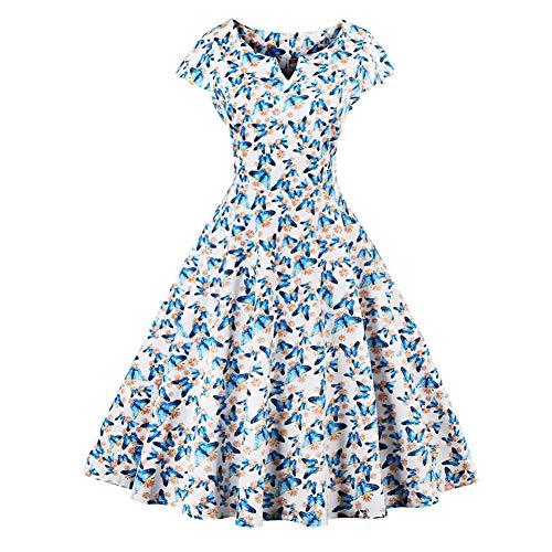 JJHRVestido Vestido De Verano con Estampado De Mariposa Vestidos De Mujer Vestidos De Rockabilly Tallas Grandes