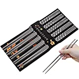 Chopsticks, Cozyswan 5 Pairs Stainless Steel Chopsticks Washable for Dishwasher 20 cm for Sushi Noodle Rice BBQ