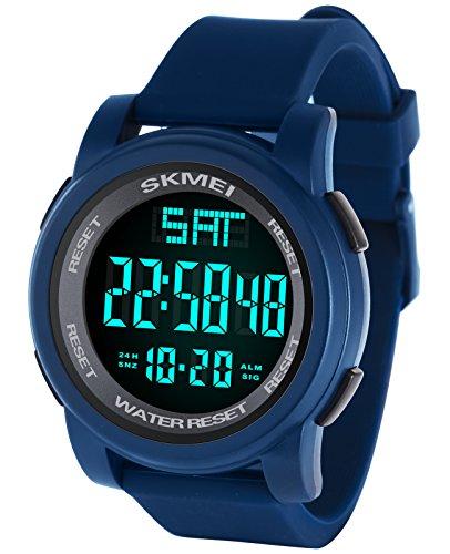 Hombres LED Relojes Digitales Militar 5ATM Reloj impermeable para hombre Reloj despertador Calendario Deportes Cronómetro