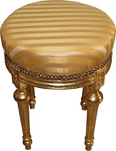 Casa Padrino Barock Sitzhocker – Rundhocker Gold Creme Streifen / Gold Mod2 – Barock Hocker Möbel