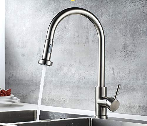 Plantex 304 Stainless Steel Kitchen Faucet (360 Degree) Swivel Spout Single Lever Pull Out Kitchen Sink Tap/Kitchen Mixer Tap Hot & Cold (MATT)