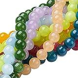 NBEADS 10fili (48PCS/filo) 8mm rotonda naturale colore misto Jade Bead Strands lucido giada pietra preziosa sciolto perline per fare gioielli fai da te bracciale collana