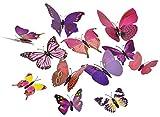 FiveSeasonStuff 24 Piezas 3D Mariposas Adhesivos Colección / 3D Efecto Mariposas Pegatinas con Imperdible para el Vestido de Boda Ropa Cortinas (Mezcla Rosado y Púrpura)