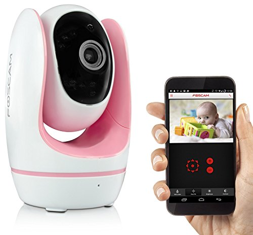 Foscam Fosbaby Digital Video Baby Monitor - HD 720P, Night Vision, Two-Way Audio, Plug and Play, Lullaby Function, Temperature Monitor, and More (Pink)