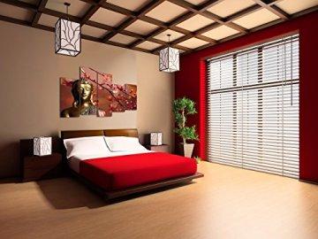 Dekoarte 113 - Cuadro moderno en lienzo de 5 piezas,  estilo zen-feng shui buda dorado con rama cerezo, 150x100cm 7