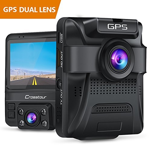 Crosstour Uber Dual Lens Dash Cam Built in GPS in Car Dashboard Camera Crosstour 1080p Front and 720p Inside with Parking Monitoring, Infrared Night Vision, Motion Detection, G Sensor and Wdr