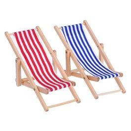 2 Pezzi 1:12 Sedia in Miniatura da Spiaggia Chaise Longue in Legno Pieghevole Sedia a Sdraio Mini Mo