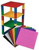 Pack de 12 bases con ladrillos separadores 2 x 2 - Construcción en forma de torre - Compatible con todas las marcas - 15,24 x 15,24 cm - Blanco, transparente, gris, negro, marrón y más