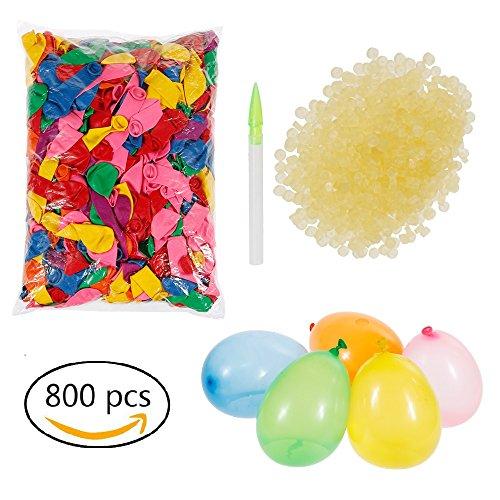 Lictin 800 Wasserballons Wasserbomben mit 800 Gummibänder und 3 Füllen Instrument