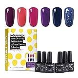 Lagunamoon UV Nagellack, Gel Nagellack UV LED 6 Farben Set für Nageldesign Gel Polish Soak off Gel Nagellack Berry naughty