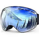 Resistente al Viento Gafas De Esquí y Snowboard antivaho resistente al polvo Impacto Resistencia ajustable desmontable lente esférica sin marco Gafas de nieve para esquí patinaje nieve UV Protección, plata