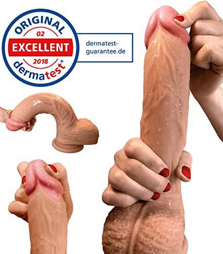 Dildo - Zwei-Layer-Silikon Dildo mit extra starkem Saugnapf - 22cm - Realistischer Dildo - Sexspielzeug für Frauen von Aurelia® - Dermatest Zertifikat exzellent