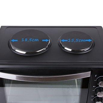 TZS-First-Austria-45-Liter-3200-Watt-Mini-Backofen-mit-Kochplatten-und-Krmelblech-Drehspie-und-Umluft-Mini-Pizzaofen-Mini-Kche-Kochplatten-separat-bedienbar-gleichzeitig-kochen-und-backen