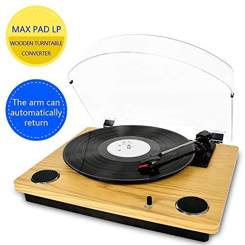 Max Pad LP Giradischi per vinile con altoparlanti stereo, giradischi per conversione da vinile a...