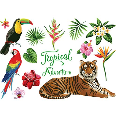 Mobile Wall Sticker Tropical Jungle Pappagallo Tigre Animale Modello Nursery Decalcomanie...