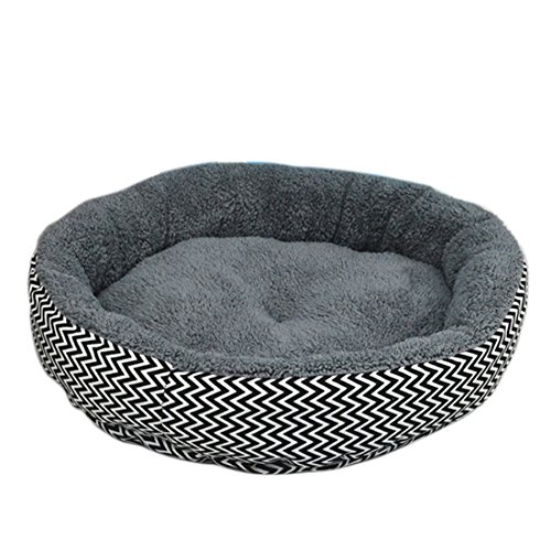 Qianle Hundebett Katzensofa Rund Leinwand Haustierbett Atmungsaktiv Abnehmbar Grau L