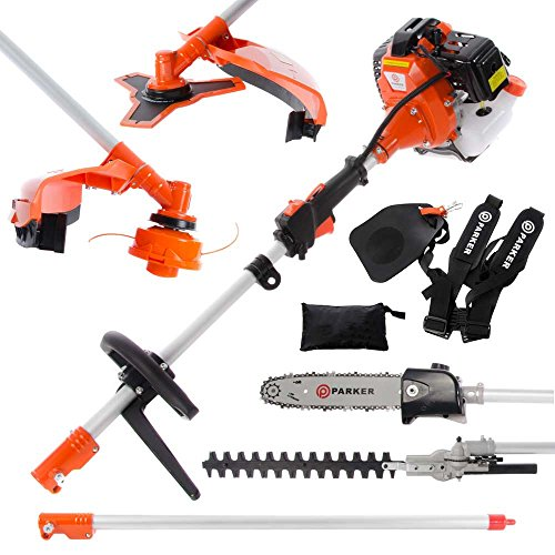 The ParkerBrand 52cc Multi Function 5 in 1 Garden Tool gives you plenty of options for maintaining your garden as it includes a range of attachments such as grass strimmer, chainsaw, and hedge trimmer. Along with these, it comes with an extension pole to increase your reach.