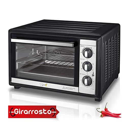 Spice Forno Elettrico Ventilato Habanero con Girarrosto 60 Litri, 2200 Watt, 5 Selezioni di Cottura...