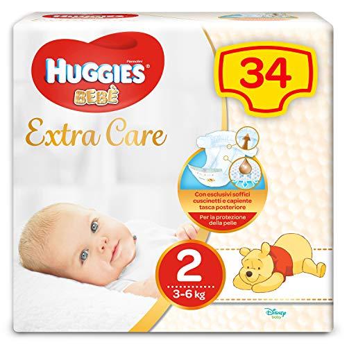Huggies Pannolini Extra Care, Taglia 2 (3-6 kg) - Confezione da 34 Pezzi